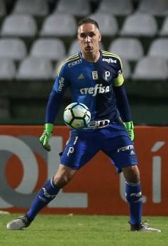 O goleiro Fernando Prass, da SE Palmeiras, em jogo contra a equipe do Coritiba FC, durante partida válida pela quinta rodada, do Campeonato Brasileiro, Série A, no Estádio Couto Pereira.